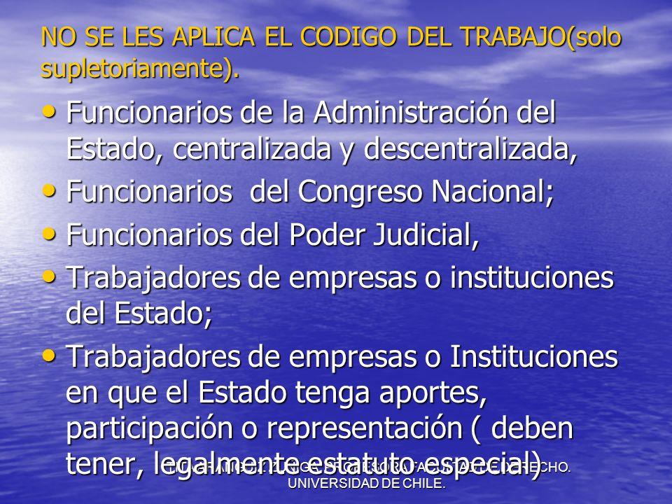 TITA ARANGUIZ ZUÑIGA. PROFESORA FACULTAD DE DERECHO. UNIVERSIDAD DE CHILE. NO SE LES APLICA EL CODIGO DEL TRABAJO(solo supletoriamente). Funcionarios