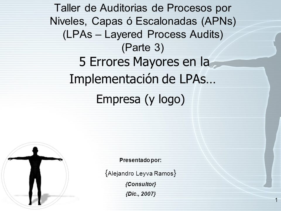 1 Empresa (y logo) Presentado por: { Alejandro Leyva Ramos } {Consultor} {Dic., 2007} Taller de Auditorias de Procesos por Niveles, Capas ó Escalonada
