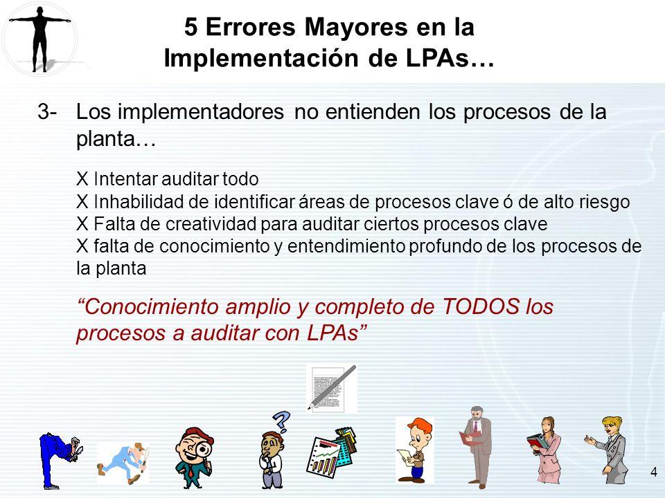 4 5 Errores Mayores en la Implementación de LPAs… 3-Los implementadores no entienden los procesos de la planta… X Intentar auditar todo X Inhabilidad