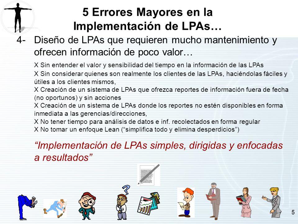 5 5 Errores Mayores en la Implementación de LPAs… 4-Diseño de LPAs que requieren mucho mantenimiento y ofrecen información de poco valor… X Sin entend