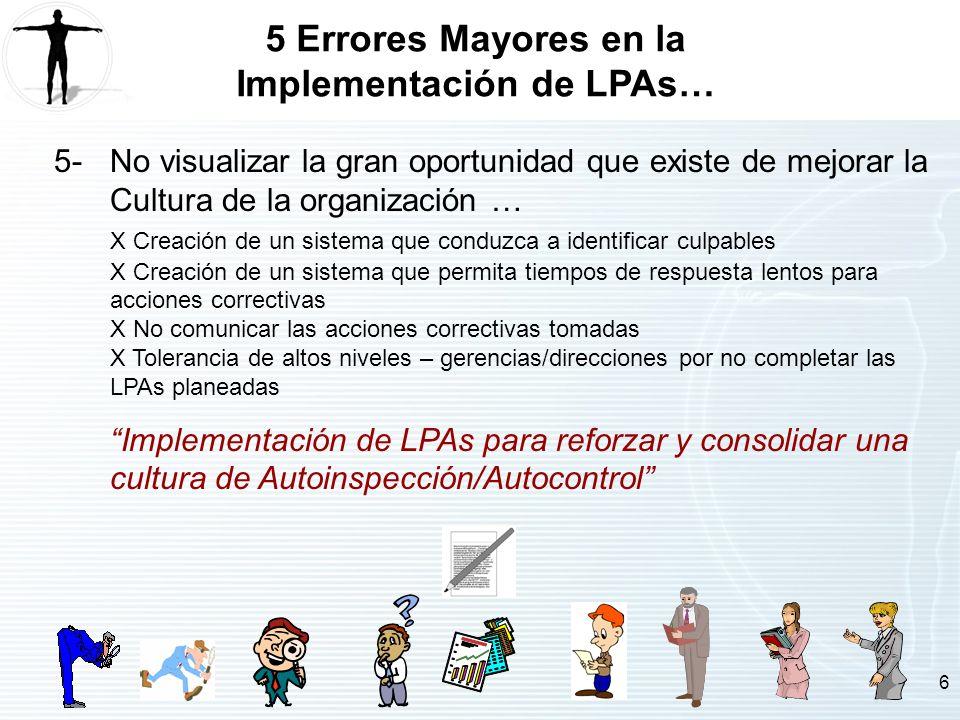 6 5 Errores Mayores en la Implementación de LPAs… 5-No visualizar la gran oportunidad que existe de mejorar la Cultura de la organización … X Creación