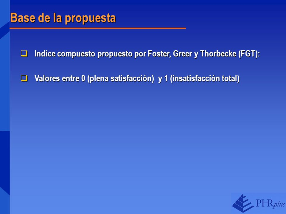 Base de la propuesta Indice compuesto propuesto por Foster, Greer y Thorbecke (FGT): Indice compuesto propuesto por Foster, Greer y Thorbecke (FGT): V