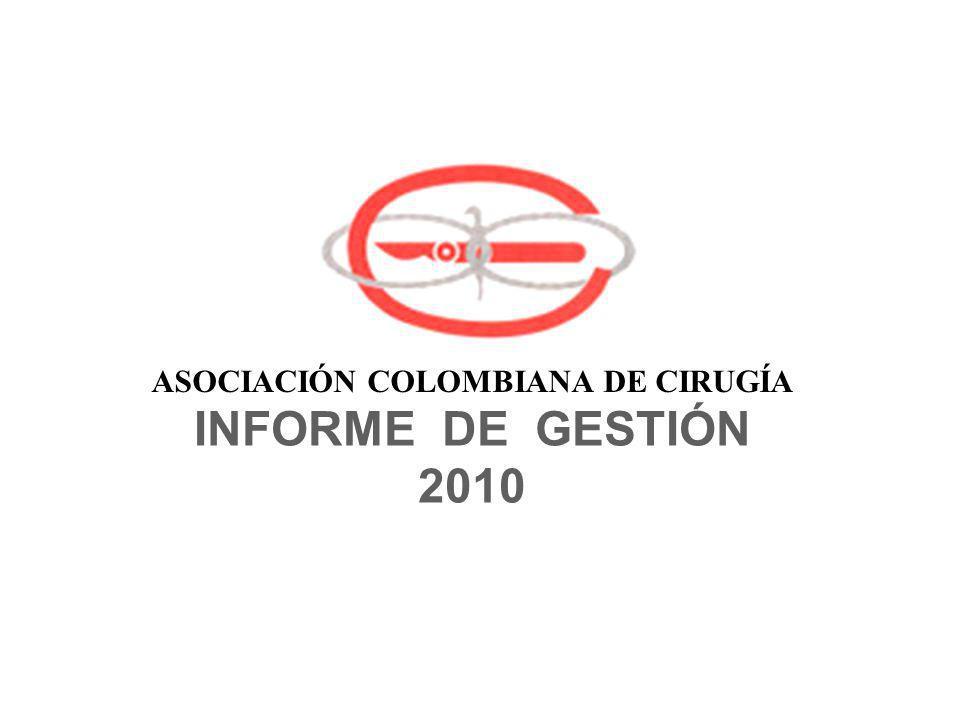 BALANCED SCORE CARD VERDE10 - 20% O MÁS DE LO PRESUPUESTADO AMARILLOLO PRESUPUESTADO ROJO10 - 20% MENOS DE LO PRESUPUESTADO ASOCIACION COLOMBIANA DE CIRUGIA INFORME DE GESTION 2010 Hernando Abaunza O.