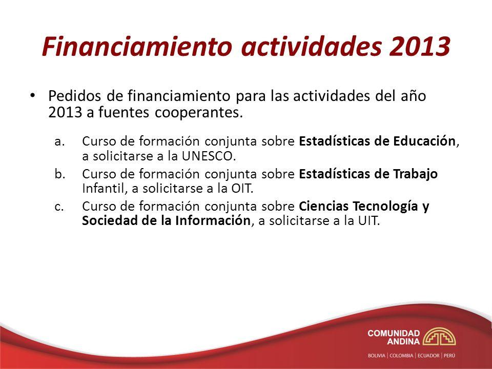 Financiamiento actividades 2013 Pedidos de financiamiento para las actividades del año 2013 a fuentes cooperantes. a.Curso de formación conjunta sobre