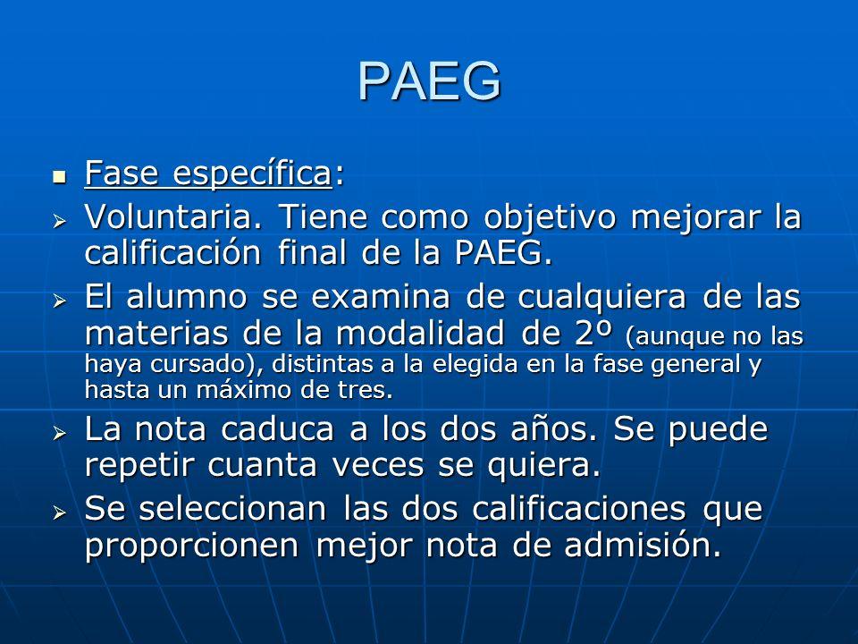 PAEG Fase específica: Fase específica: Voluntaria.