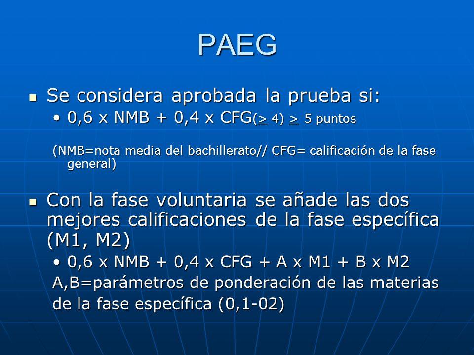 PAEG Se considera aprobada la prueba si: Se considera aprobada la prueba si: 0,6 x NMB + 0,4 x CFG (> 4) > 5 puntos0,6 x NMB + 0,4 x CFG (> 4) > 5 puntos (NMB=nota media del bachillerato// CFG= calificación de la fase general) Con la fase voluntaria se añade las dos mejores calificaciones de la fase específica (M1, M2) Con la fase voluntaria se añade las dos mejores calificaciones de la fase específica (M1, M2) 0,6 x NMB + 0,4 x CFG + A x M1 + B x M20,6 x NMB + 0,4 x CFG + A x M1 + B x M2 A,B=parámetros de ponderación de las materias de la fase específica (0,1-02)