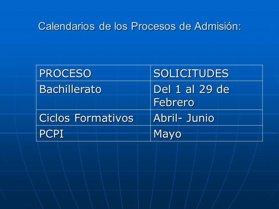 Calendarios de los Procesos de Admisión: PROCESOSOLICITUDES Bachillerato Del 1 al 29 de Febrero Ciclos Formativos Abril- Junio PCPIMayo