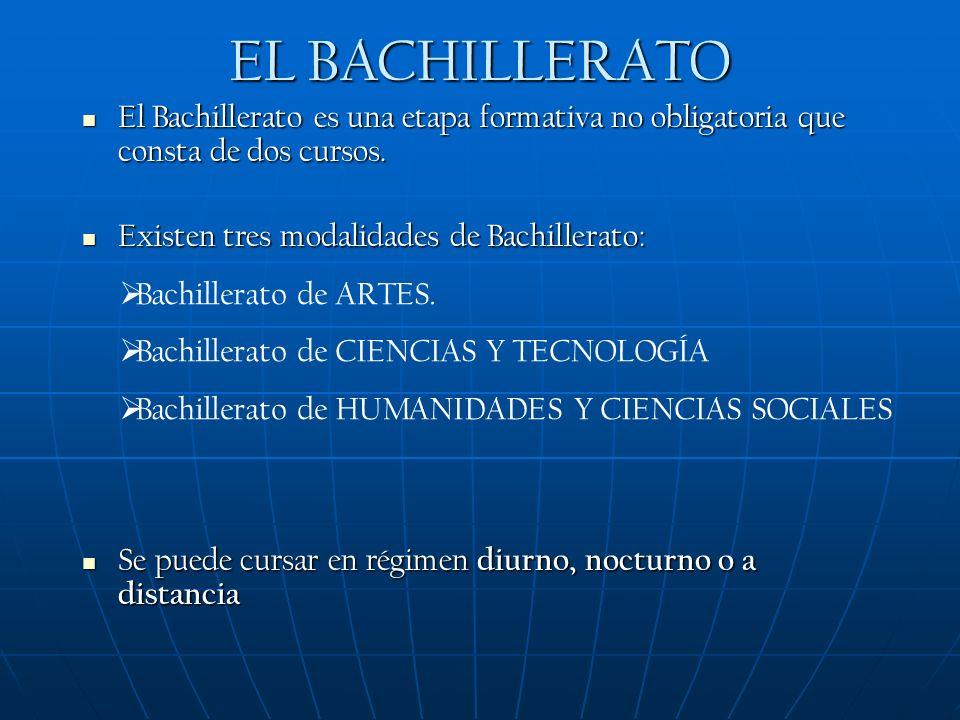 EL BACHILLERATO El Bachillerato es una etapa formativa no obligatoria que consta de dos cursos.