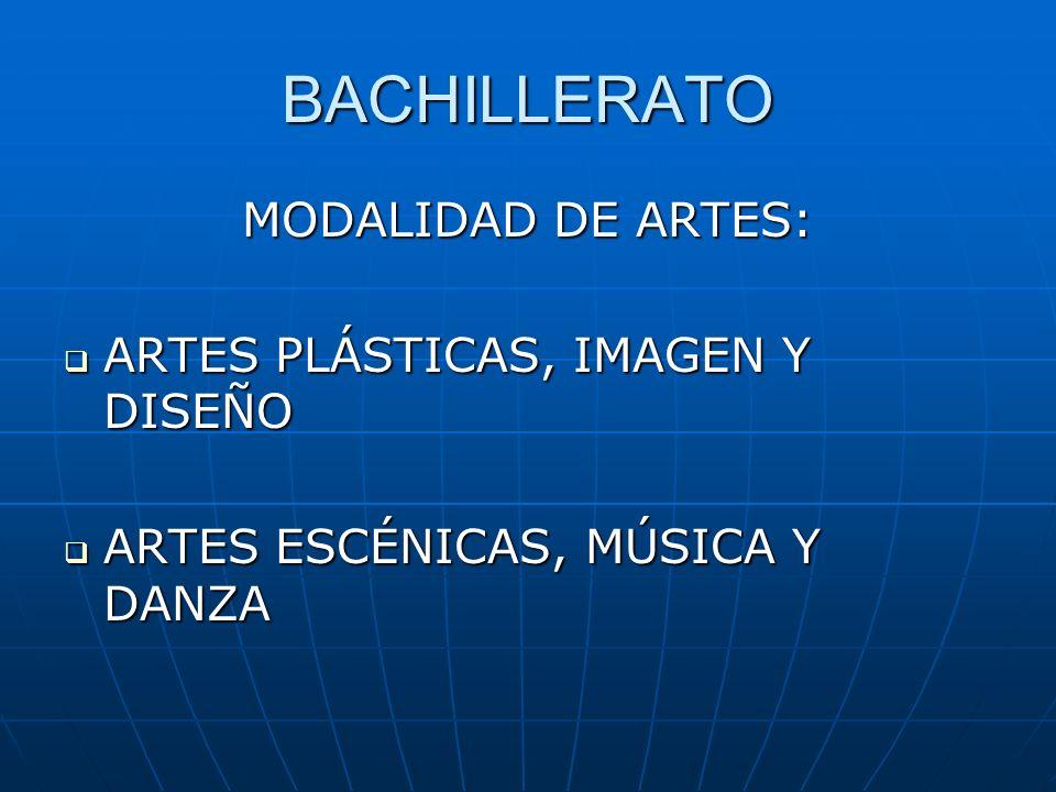 BACHILLERATO MODALIDAD DE ARTES: ARTES PLÁSTICAS, IMAGEN Y DISEÑO ARTES PLÁSTICAS, IMAGEN Y DISEÑO ARTES ESCÉNICAS, MÚSICA Y DANZA ARTES ESCÉNICAS, MÚSICA Y DANZA