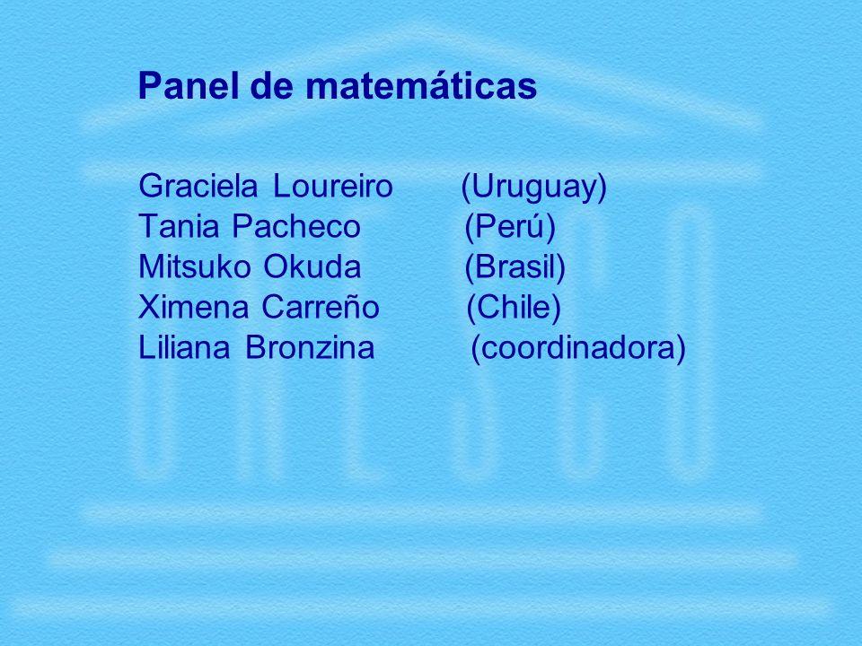 Panel de matemáticas Graciela Loureiro (Uruguay) Tania Pacheco (Perú) Mitsuko Okuda (Brasil) Ximena Carreño (Chile) Liliana Bronzina (coordinadora)