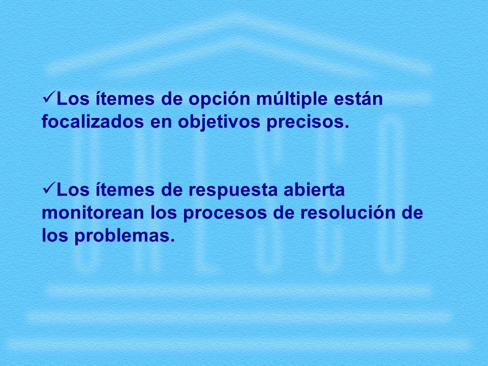 Los ítemes de opción múltiple están focalizados en objetivos precisos.