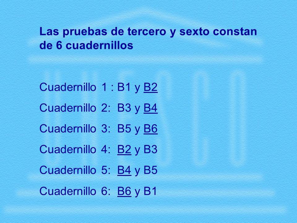 Las pruebas de tercero y sexto constan de 6 cuadernillos Cuadernillo 1 : B1 y B2 Cuadernillo 2: B3 y B4 Cuadernillo 3: B5 y B6 Cuadernillo 4: B2 y B3 Cuadernillo 5: B4 y B5 Cuadernillo 6: B6 y B1