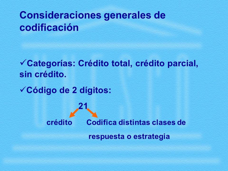 Consideraciones generales de codificación Categorías: Crédito total, crédito parcial, sin crédito.