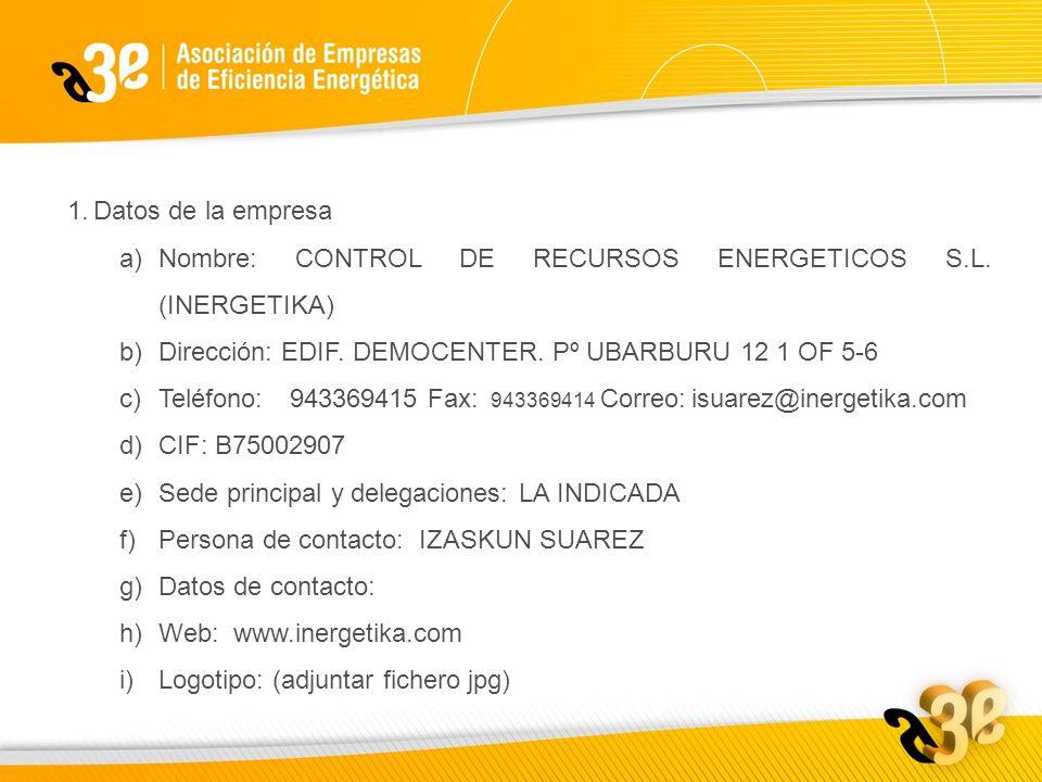 1.Datos de la empresa a)Nombre: CONTROL DE RECURSOS ENERGETICOS S.L.