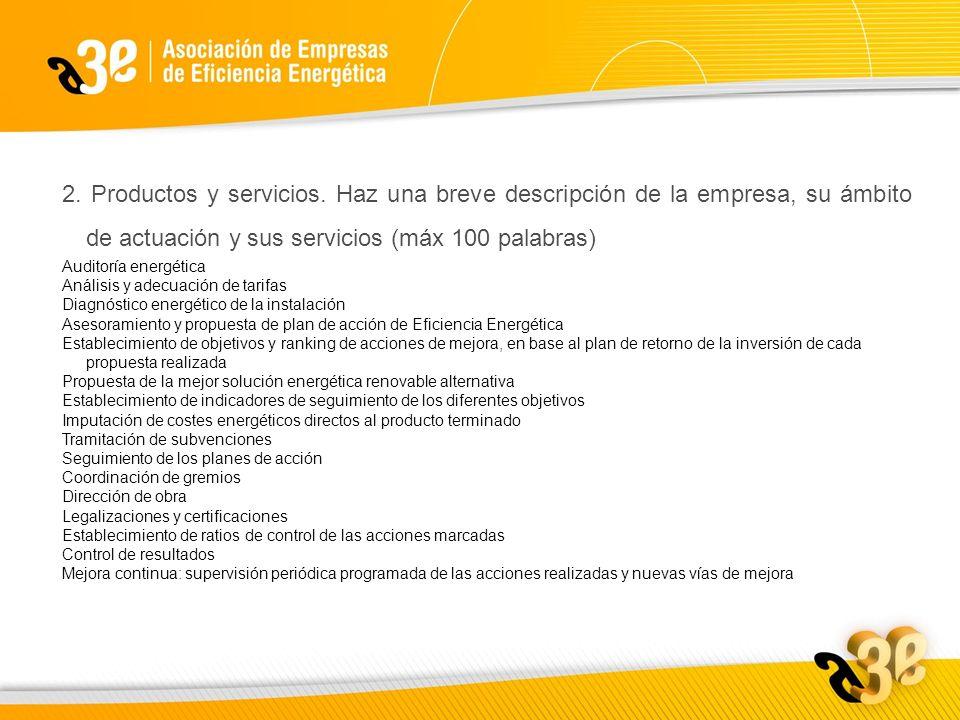 2. Productos y servicios.
