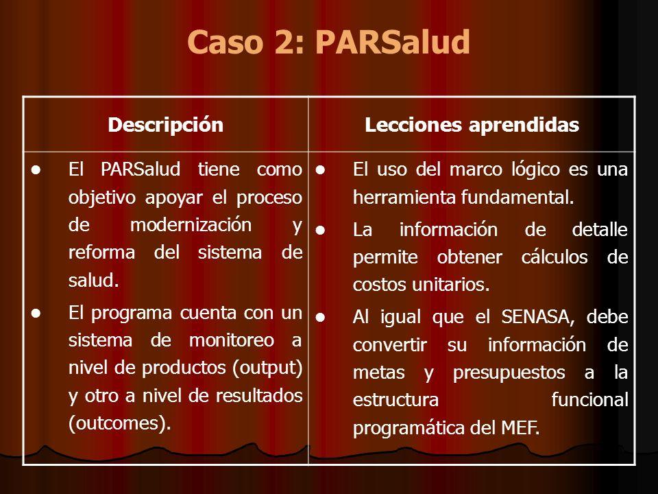 Caso 2: PARSalud DescripciónLecciones aprendidas El PARSalud tiene como objetivo apoyar el proceso de modernización y reforma del sistema de salud. El