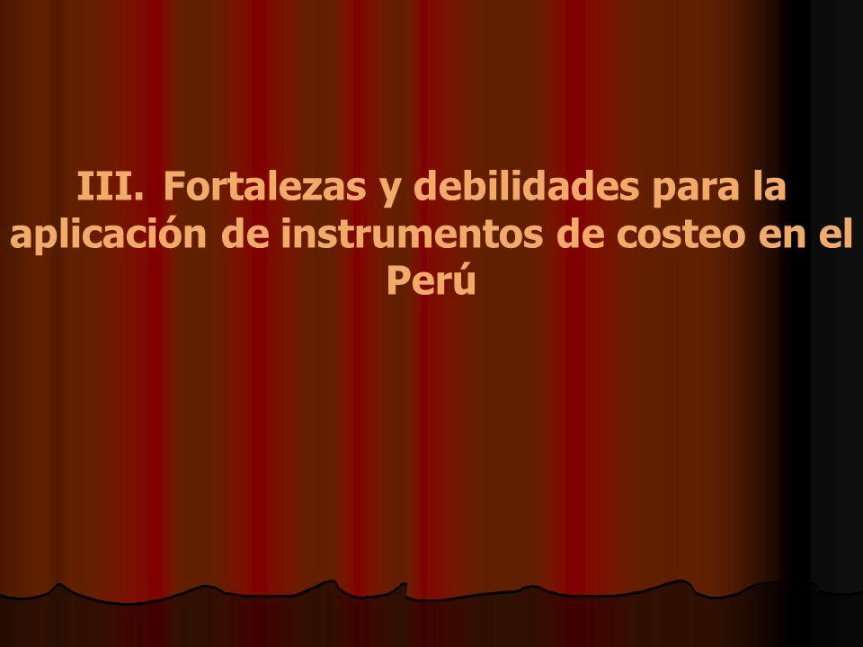 III.Fortalezas y debilidades para la aplicación de instrumentos de costeo en el Perú