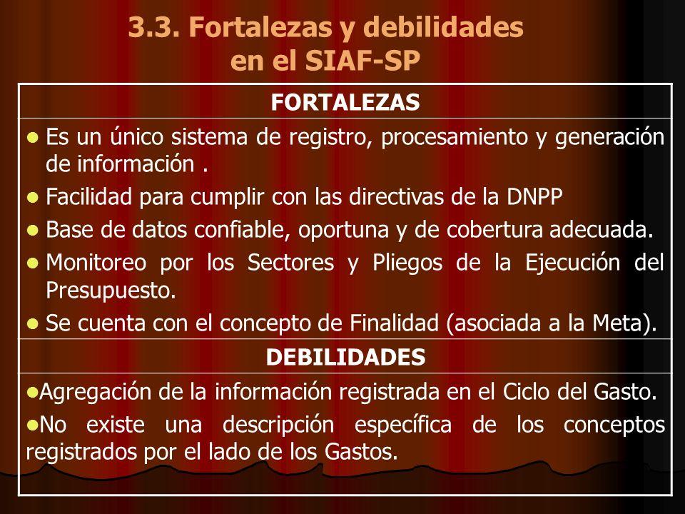 3.3. Fortalezas y debilidades en el SIAF-SP FORTALEZAS Es un único sistema de registro, procesamiento y generación de información. Facilidad para cump