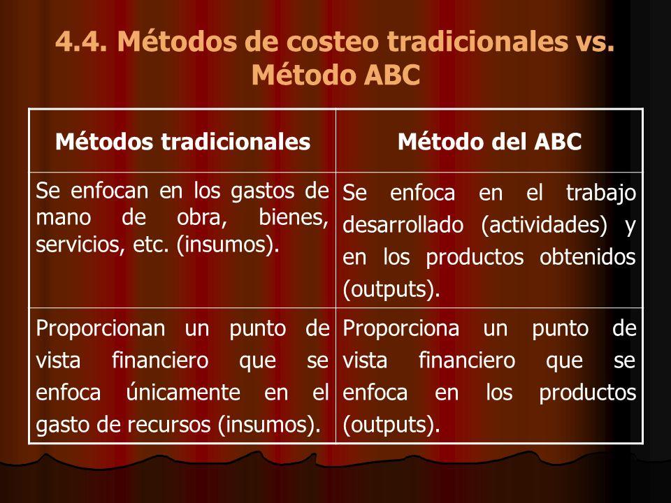 4.4. Métodos de costeo tradicionales vs. Método ABC Métodos tradicionalesMétodo del ABC Se enfocan en los gastos de mano de obra, bienes, servicios, e