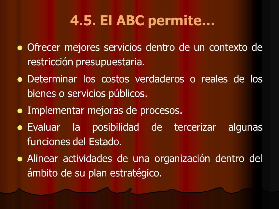 4.5. El ABC permite… Ofrecer mejores servicios dentro de un contexto de restricción presupuestaria. Determinar los costos verdaderos o reales de los b