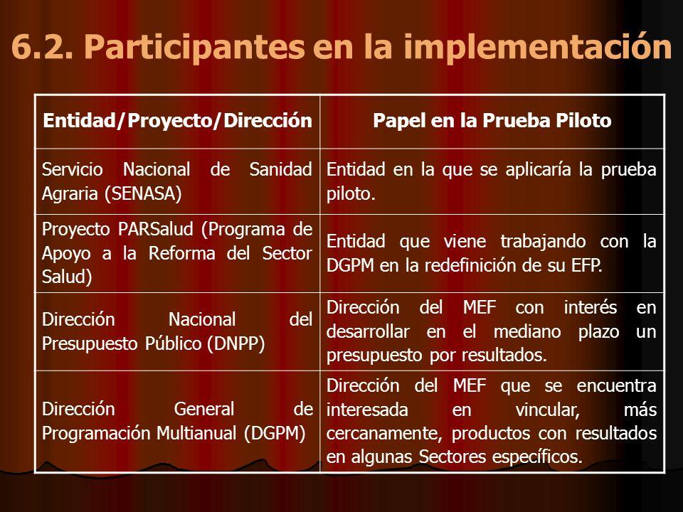 6.2. Participantes en la implementación Entidad/Proyecto/DirecciónPapel en la Prueba Piloto Servicio Nacional de Sanidad Agraria (SENASA) Entidad en l