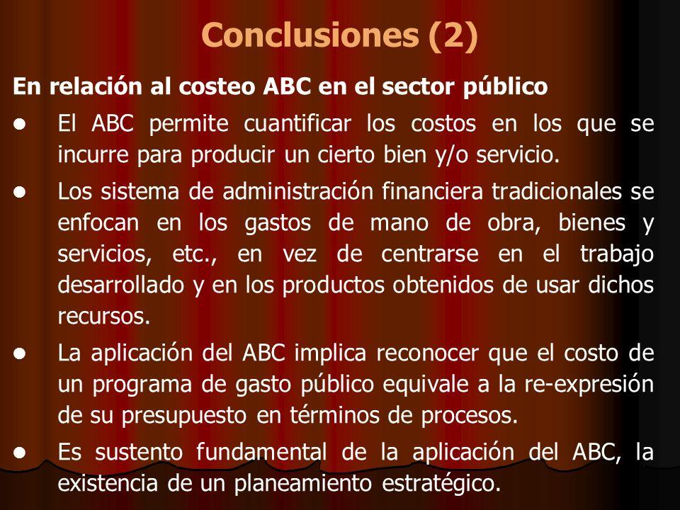 Conclusiones (2) En relación al costeo ABC en el sector público El ABC permite cuantificar los costos en los que se incurre para producir un cierto bi
