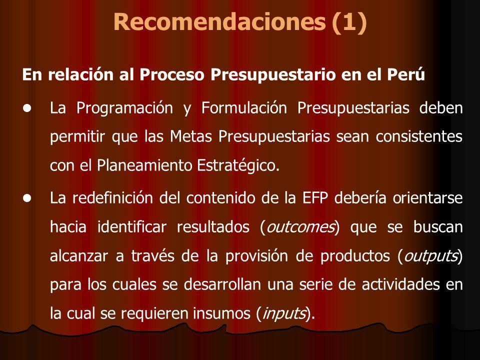 Recomendaciones (1) En relación al Proceso Presupuestario en el Perú La Programación y Formulación Presupuestarias deben permitir que las Metas Presup