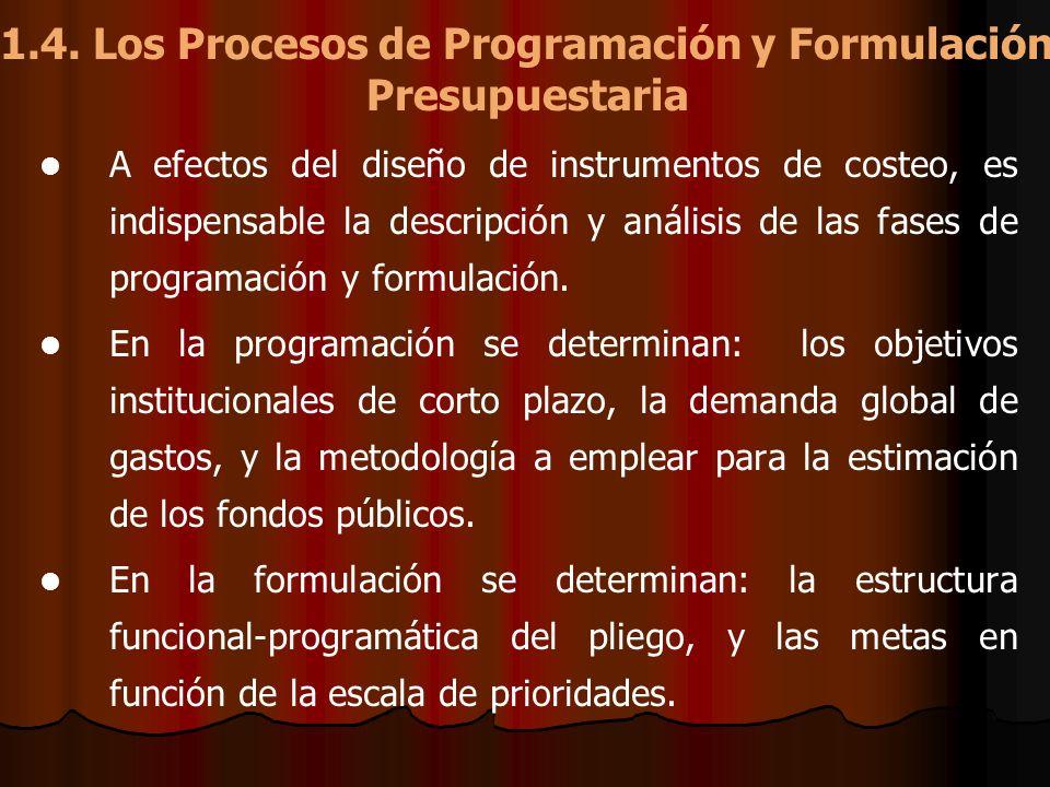1.4. Los Procesos de Programación y Formulación Presupuestaria A efectos del diseño de instrumentos de costeo, es indispensable la descripción y análi