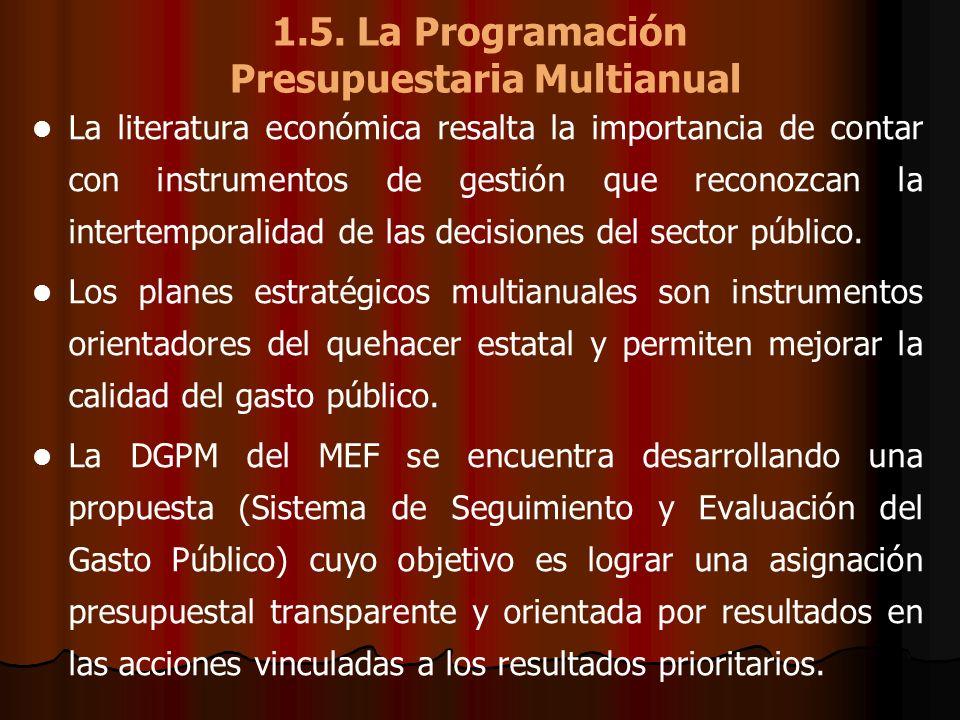 1.5. La Programación Presupuestaria Multianual La literatura económica resalta la importancia de contar con instrumentos de gestión que reconozcan la
