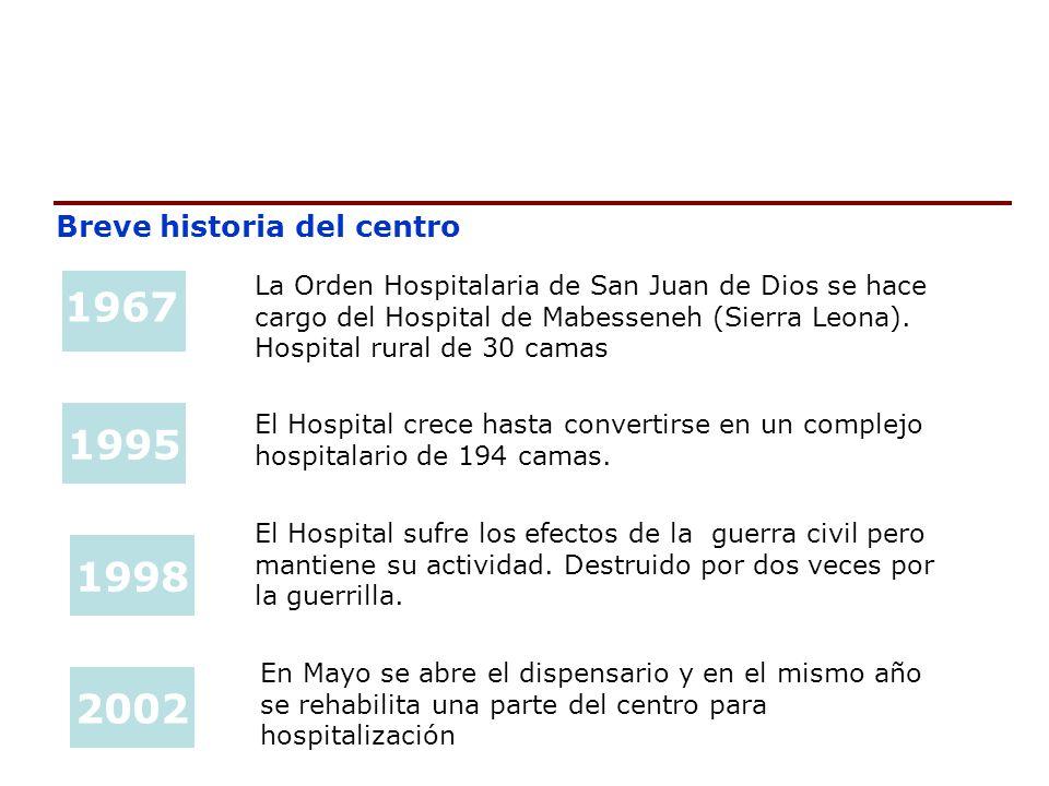 Breve historia del centro 1967 1995 1998 2002 La Orden Hospitalaria de San Juan de Dios se hace cargo del Hospital de Mabesseneh (Sierra Leona). Hospi