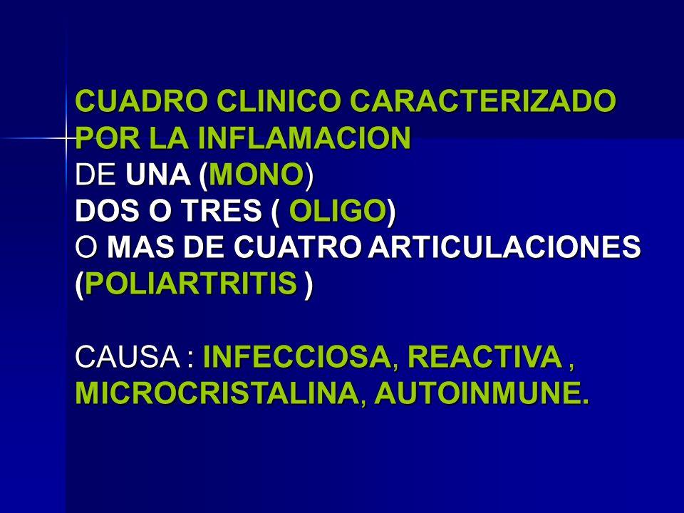 CUADRO CLINICO CARACTERIZADO POR LA INFLAMACION DE UNA (MONO) DOS O TRES ( OLIGO) O MAS DE CUATRO ARTICULACIONES (POLIARTRITIS ) CAUSA : INFECCIOSA, R
