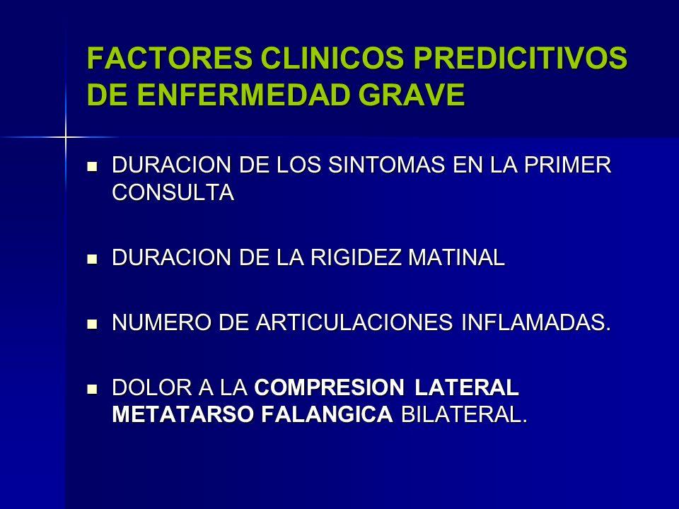 FACTORES PREDICITIVOS DE ENFERMEDAD GRAVE ( LABORATORIO) FACTOR REUMATOIDE TITULOS ALTOS FACTOR REUMATOIDE TITULOS ALTOS ANTI- CUERPOS ANTI - PEPTIDOS CITRULINADOS ANTI- CUERPOS ANTI - PEPTIDOS CITRULINADOS