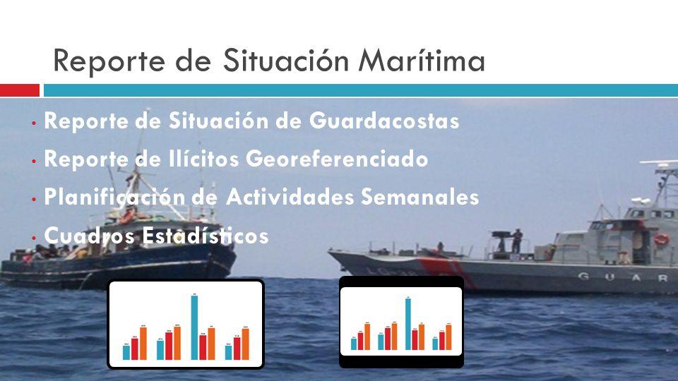 Reporte de Situación Marítima Reporte de Situación de Guardacostas Reporte de Ilícitos Georeferenciado Planificación de Actividades Semanales Cuadros