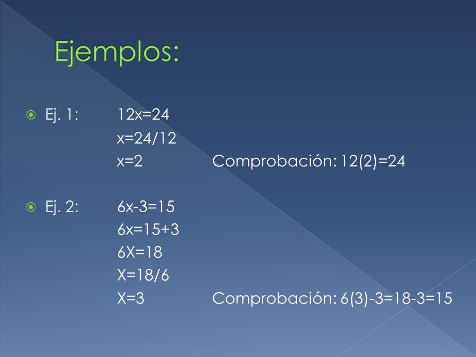 Ej. 1: 12x=24 x=24/12 x=2Comprobación: 12(2)=24 Ej. 2: 6x-3=15 6x=15+3 6X=18 X=18/6 X=3 Comprobación: 6(3)-3=18-3=15