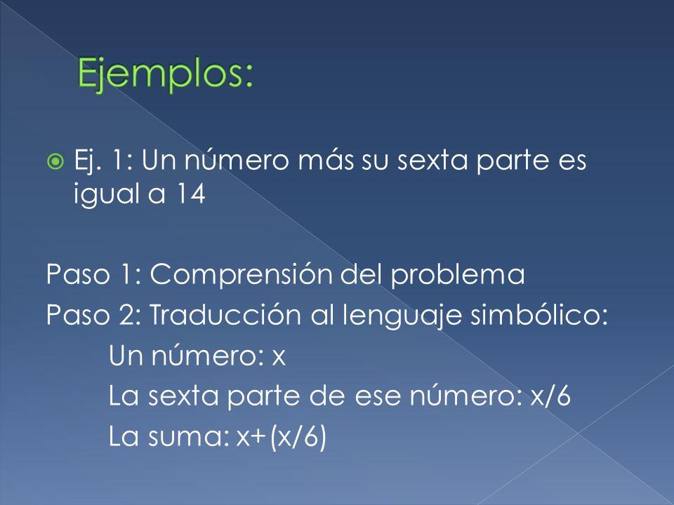 Ej. 1: Un número más su sexta parte es igual a 14 Paso 1: Comprensión del problema Paso 2: Traducción al lenguaje simbólico: Un número: x La sexta par
