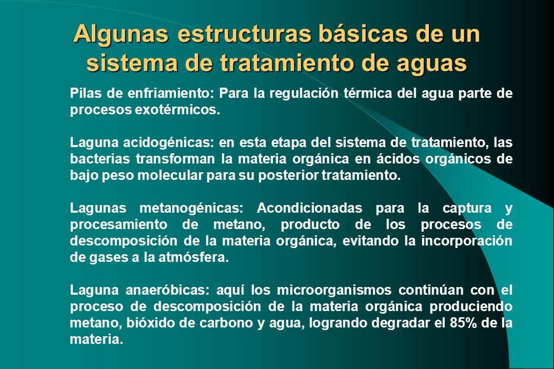 Algunas estructuras básicas de un sistema de tratamiento de aguas Pilas de enfriamiento: Para la regulación térmica del agua parte de procesos exotérm