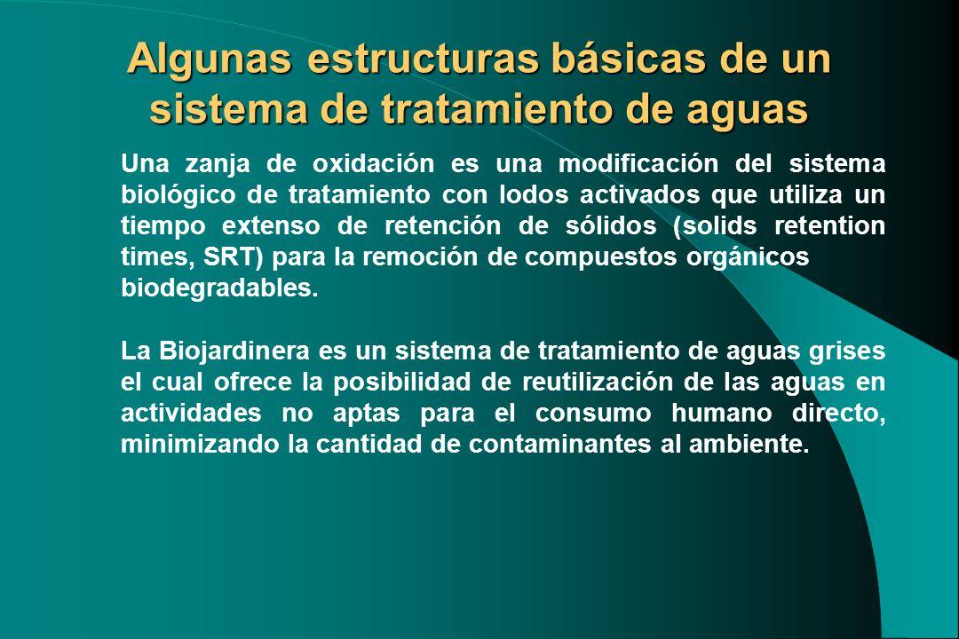 Algunas estructuras básicas de un sistema de tratamiento de aguas Una zanja de oxidación es una modificación del sistema biológico de tratamiento con