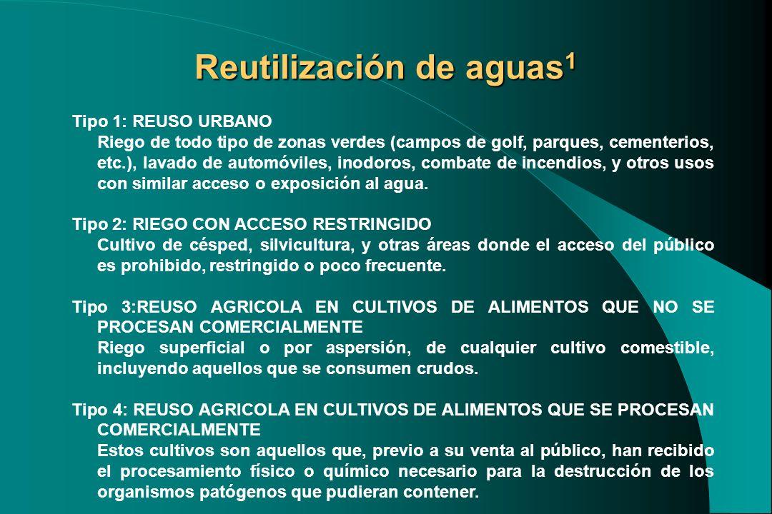 Reutilización de aguas 1 Tipo 1: REUSO URBANO Riego de todo tipo de zonas verdes (campos de golf, parques, cementerios, etc.), lavado de automóviles,