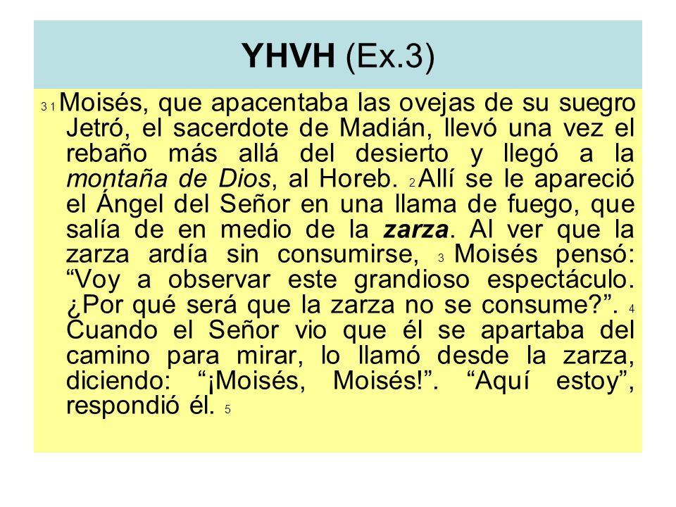 YHVH (Ex.3) 3 1 Moisés, que apacentaba las ovejas de su suegro Jetró, el sacerdote de Madián, llevó una vez el rebaño más allá del desierto y llegó a