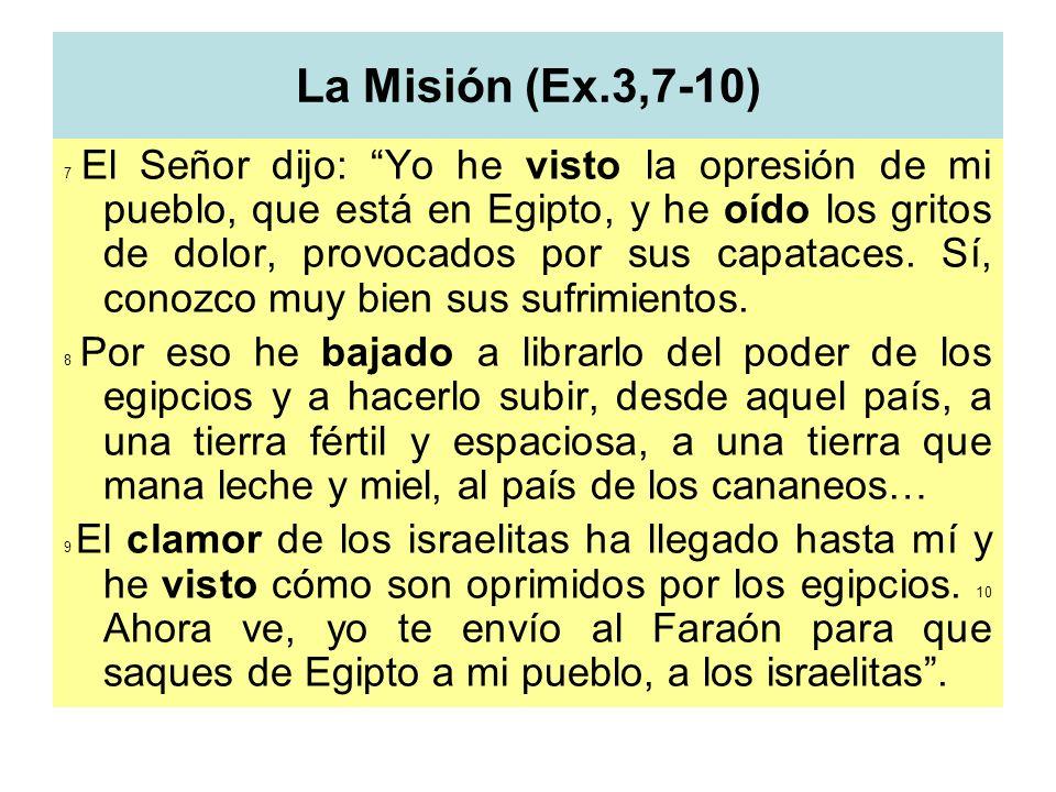 La Misión (Ex.3,7-10) 7 El Señor dijo: Yo he visto la opresión de mi pueblo, que está en Egipto, y he oído los gritos de dolor, provocados por sus cap
