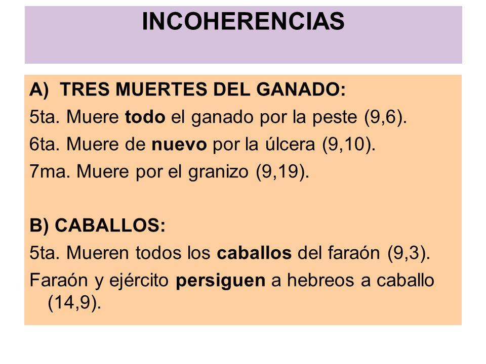 INCOHERENCIAS A) TRES MUERTES DEL GANADO: 5ta. Muere todo el ganado por la peste (9,6). 6ta. Muere de nuevo por la úlcera (9,10). 7ma. Muere por el gr