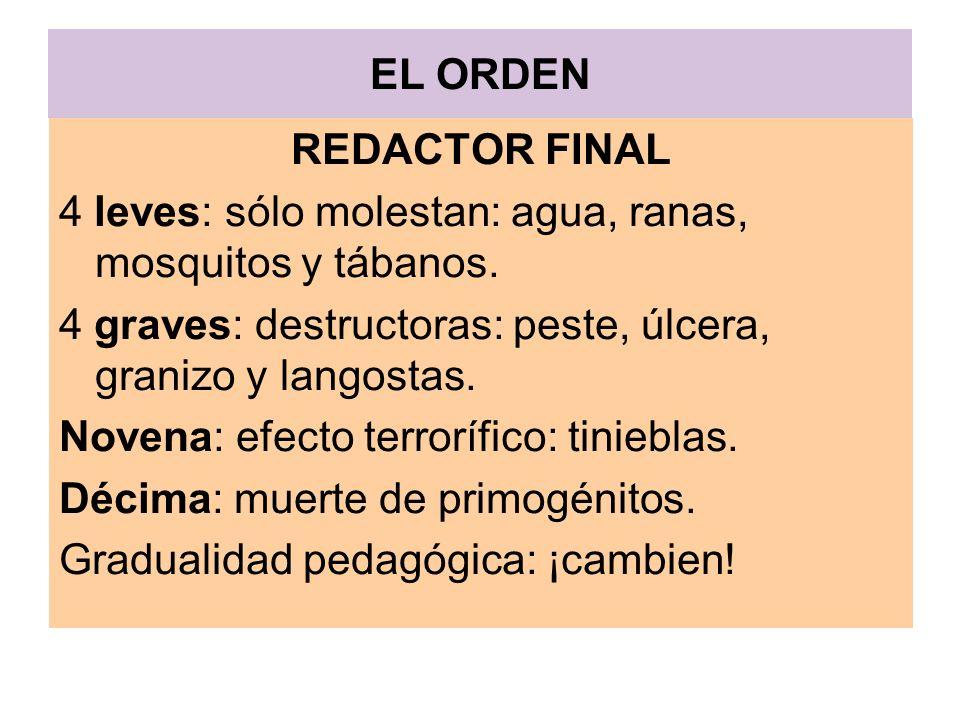EL ORDEN REDACTOR FINAL 4 leves: sólo molestan: agua, ranas, mosquitos y tábanos. 4 graves: destructoras: peste, úlcera, granizo y langostas. Novena:
