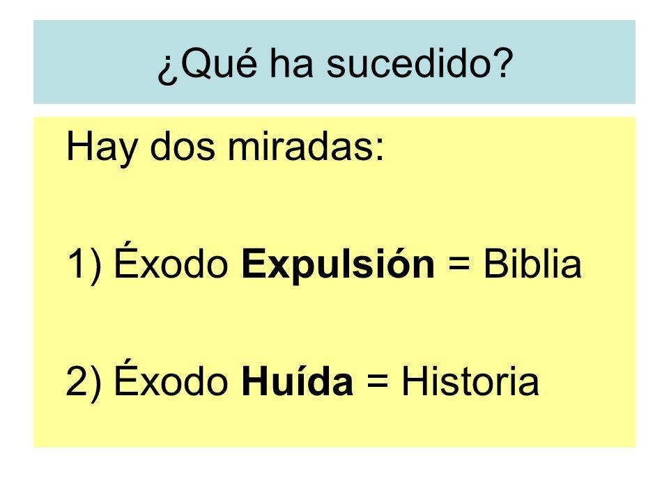 ¿Qué ha sucedido? Hay dos miradas: 1) Éxodo Expulsión = Biblia 2) Éxodo Huída = Historia
