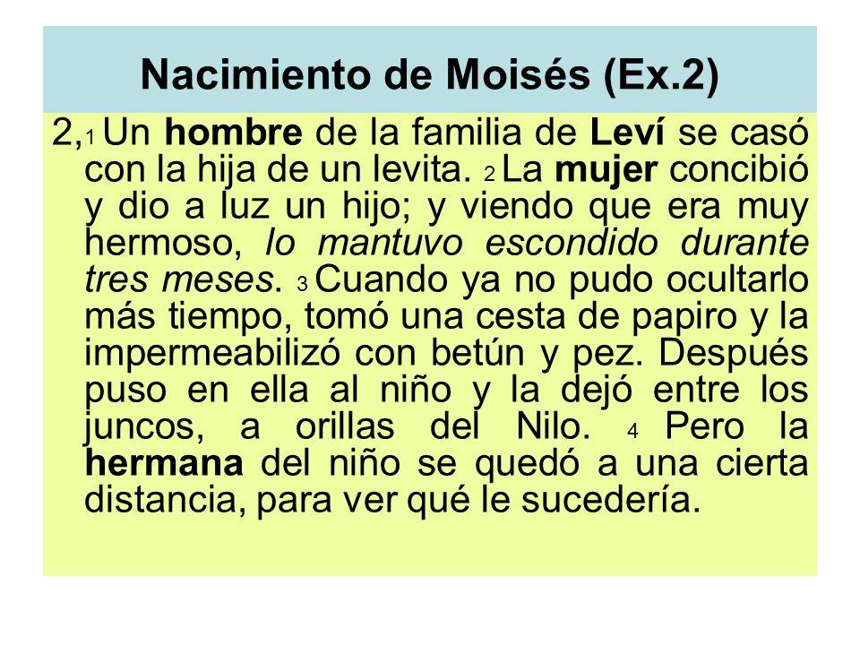 Nacimiento de Moisés (Ex.2) 2, 1 Un hombre de la familia de Leví se casó con la hija de un levita. 2 La mujer concibió y dio a luz un hijo; y viendo q