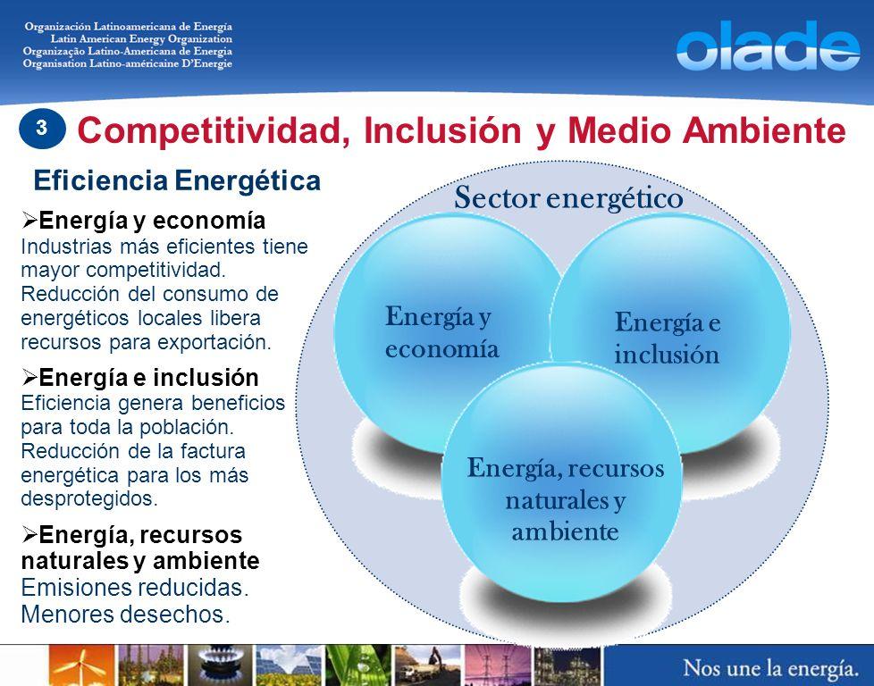 Energía e inclusión Energía y economía Competitividad, Inclusión y Medio Ambiente 3 Eficiencia Energética Energía y economía Industrias más eficientes