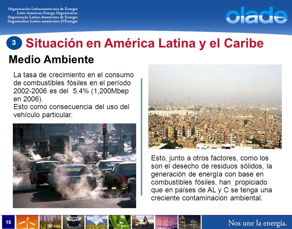 15 Medio Ambiente Situación en América Latina y el Caribe 3 La tasa de crecimiento en el consumo de combustibles fósiles en el período 2002-2006 es de