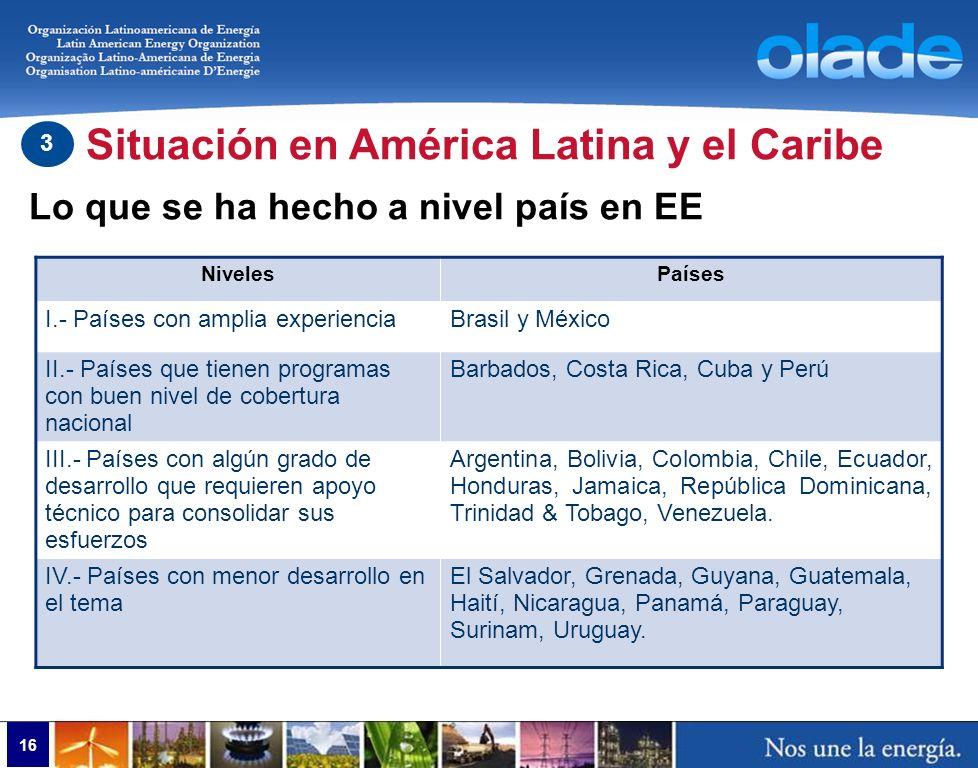 16 NivelesPaíses I.- Países con amplia experienciaBrasil y México II.- Países que tienen programas con buen nivel de cobertura nacional Barbados, Cost