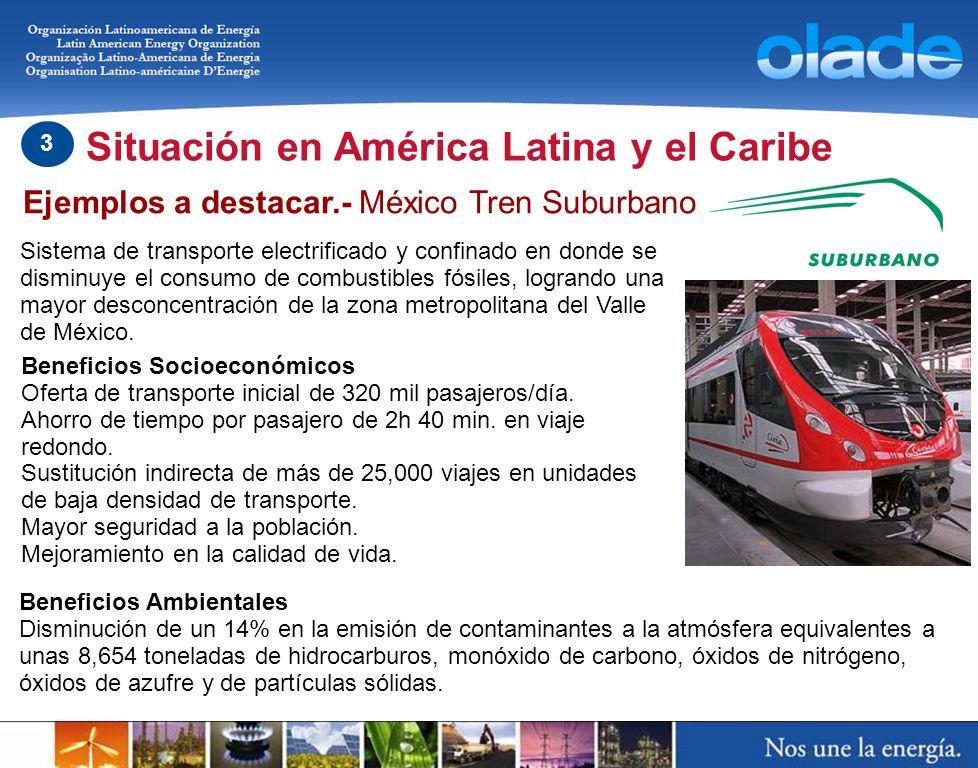 Situación en América Latina y el Caribe 3 Ejemplos a destacar.- México Tren Suburbano Sistema de transporte electrificado y confinado en donde se dism