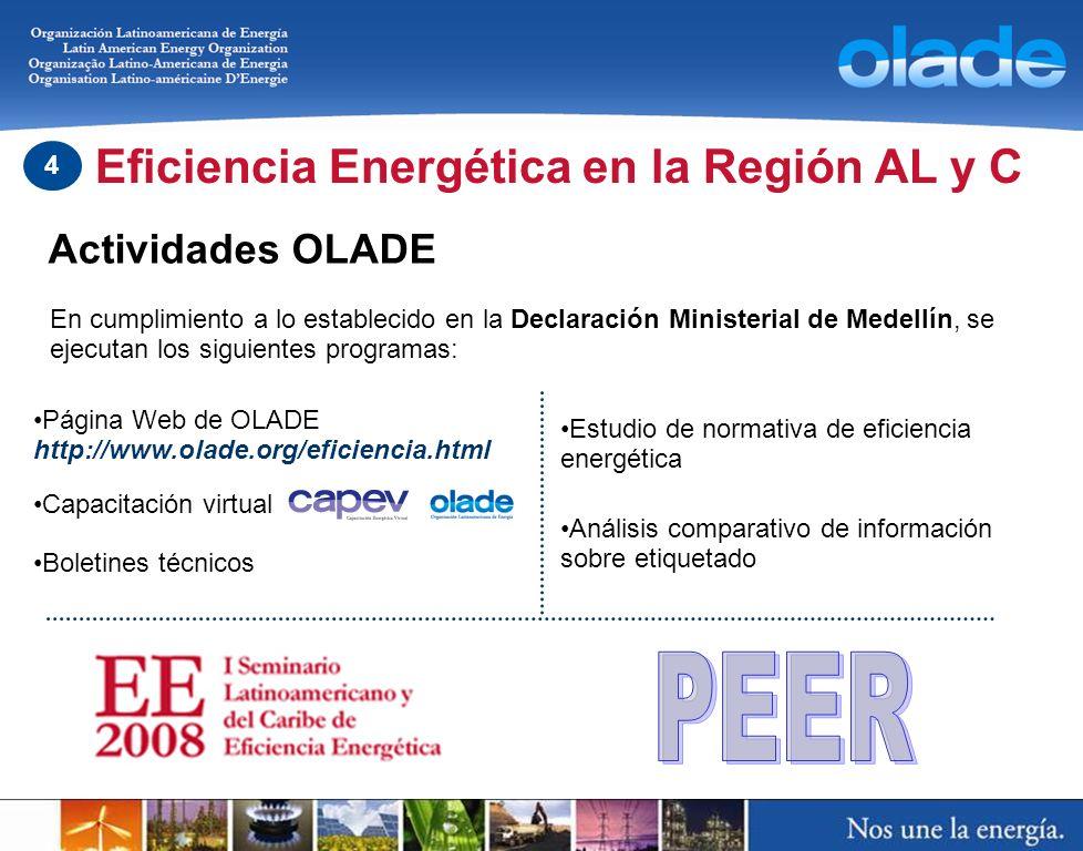 Actividades OLADE Eficiencia Energética en la Región AL y C 4 Página Web de OLADE http://www.olade.org/eficiencia.html Boletines técnicos Estudio de n