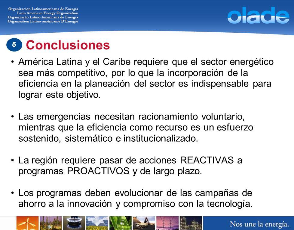 América Latina y el Caribe requiere que el sector energético sea más competitivo, por lo que la incorporación de la eficiencia en la planeación del se